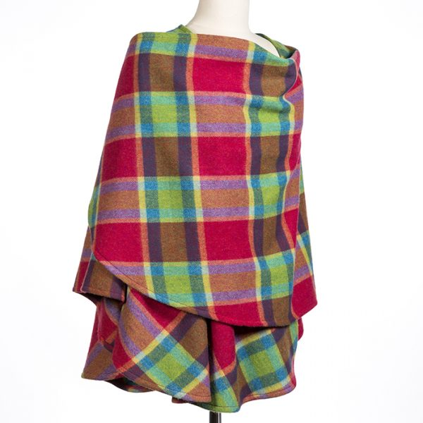 Lambswool Cape Cherry Green Turquoise Plaid