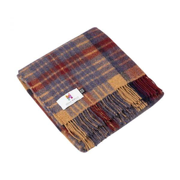 Irish Knee Blanket Maroon Blue Rust Plaid