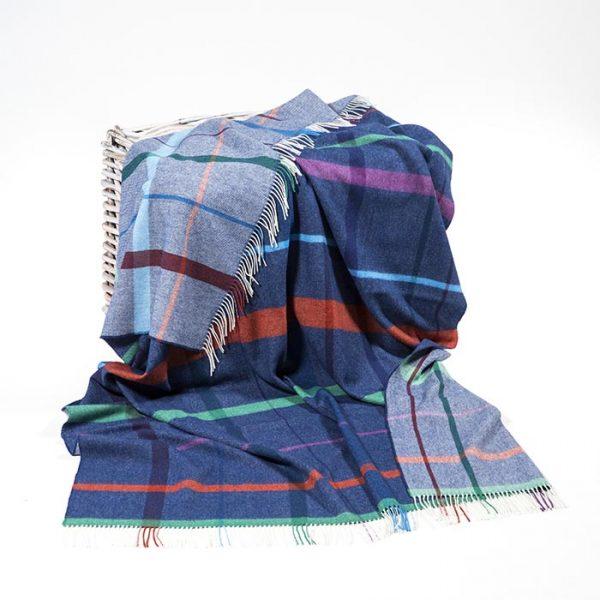 Merino Lambswool Blanket Royal Blue Rust Purple Jade Green Overcheck