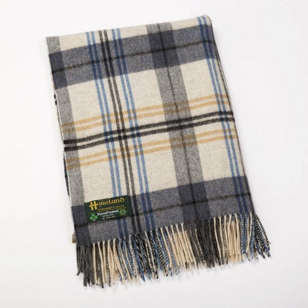 Lambswool Throw Navy Grey Blue Check