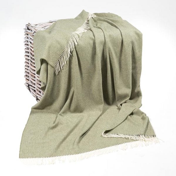 Lambswool Throw Olive Green