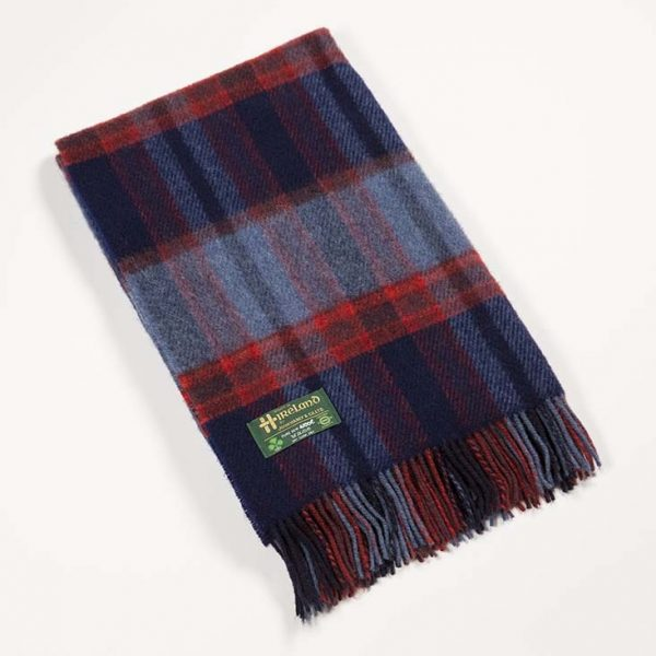 Irish Knee Blanket Denim Navy Red Plaid
