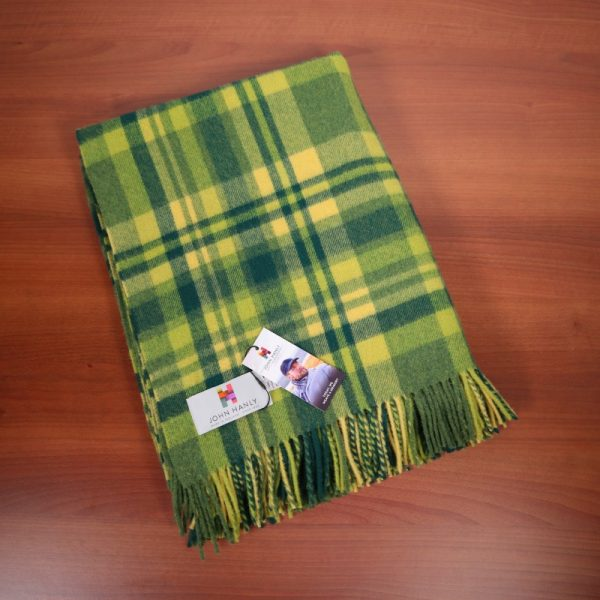 Lambswool Throw Green Yellow Check