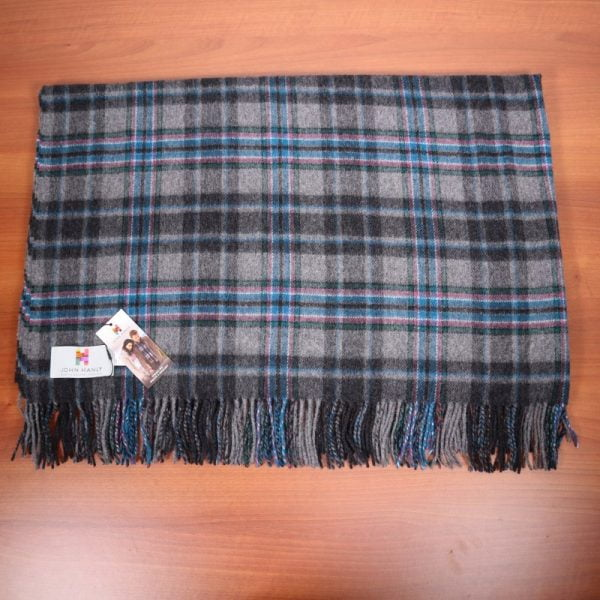 Lambswool Throw Grey Navy Check